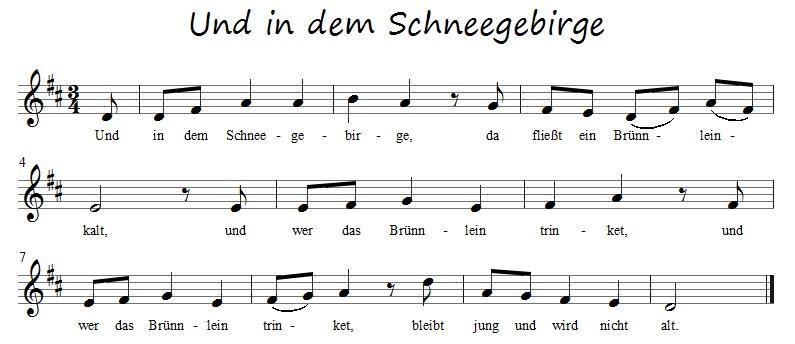 Volkslieder: Und in dem Schneegebirge (mit kostenlosen ...
