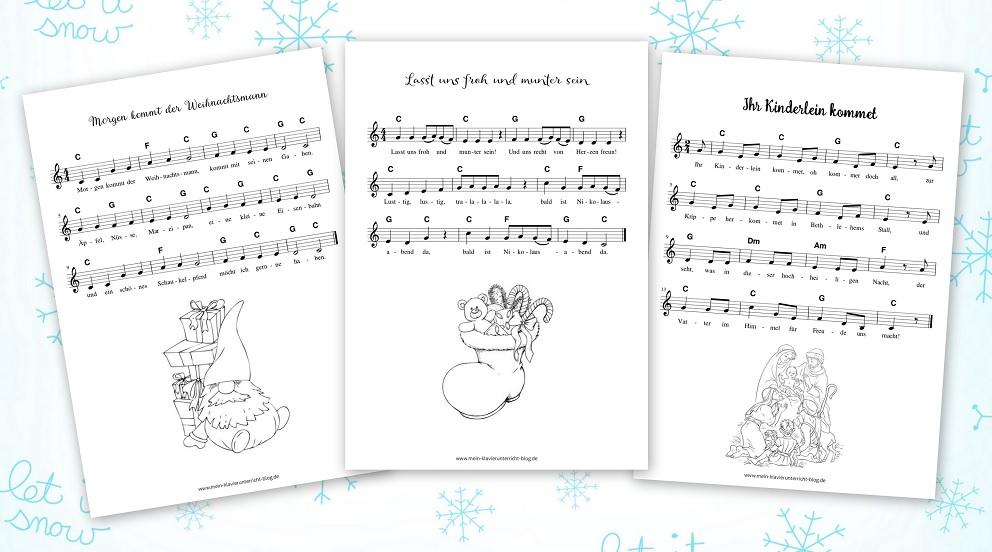 Texte Weihnachtslieder Zum Ausdrucken.Kreativ Begleiten Weihnachtslieder Der Zauberklavier Blog
