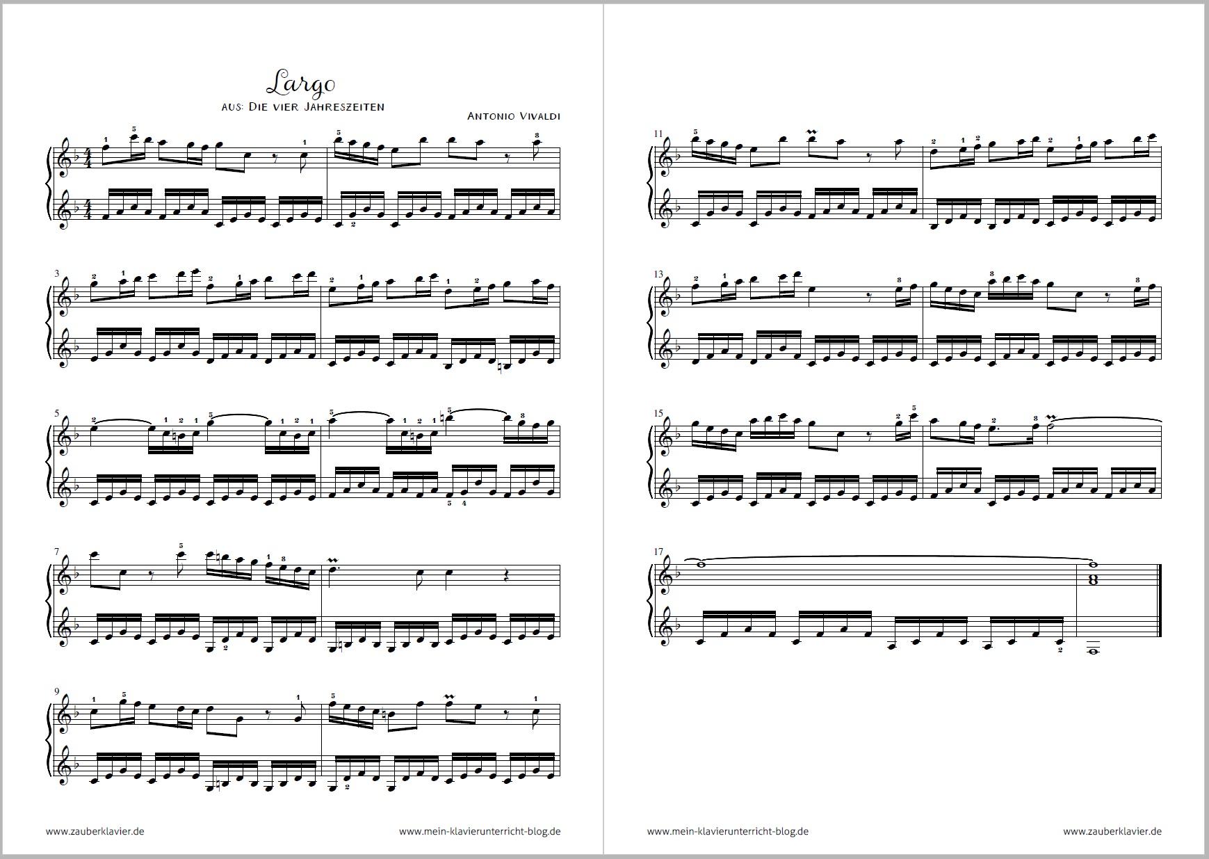 Antonio Vivaldi Sein Largo Aus Die Vier Jahreszeiten Mit Noten