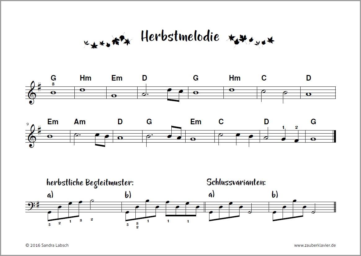 Herbstmelodie, Begleitmuster, Bassfiguren, Sandra Labsch, Zauberklavier, kostenloses Klavierstücke, kostenlose Klaviernoten, Liedbegleitung, Spiel nach Akkordsymbolen