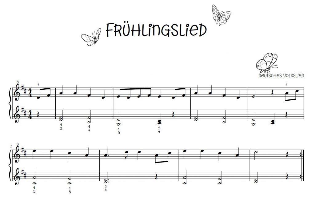 Frühlingslied, Der Frühling hat sich eingestellt, kostenlose Klaviernoten